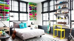 Teen Boy Room -- Skateboard -- Add interest to a neutral room with pops of neon.