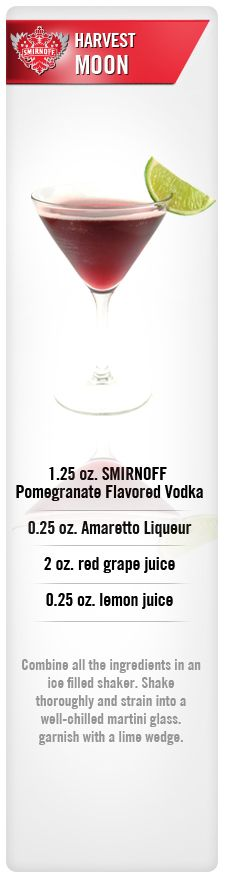 Harvest Moon drink recipe with Smirnoff Pomegranate Flavored Vodka, Amaretto liqueur, red grape juice and lemon juice. #Smirnoff #vodka #pomegranate #grape #drinkrecipe