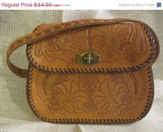 ON SALE... Vintage Hand Tooled Leather Purse with Flowers & Ferns