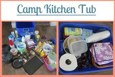 Lots of really great ideas for making various camping tubs...all ready to go when you are.