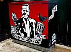 Howard Morrison as painted by Chris Newman aka Noomz on a Chorus Cabinet in Rotorua