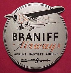 Braniff Airways Coaster aviat graphic, f4u corsairbraniff, airlin pin, vintag airlin, braniff airway, aviat trb, airlin inspir, trb 44