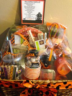 Halloween Party Kit donation gift basket for my Son's School.  #vinyl, #straws, #cups, #plates, #woodenbanner from #PYP