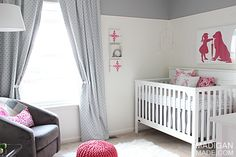 Love this room! Pink and gray baby nursery decor ideas (with vintage and modern touches)