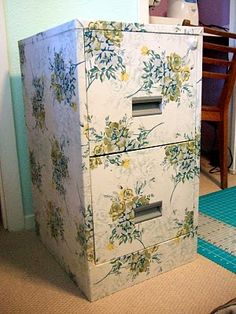 Dull metal filing cabinet, fabric, mod podge!
