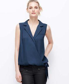 Collared Wrap Top- Blazer Details + Side-tie add edge