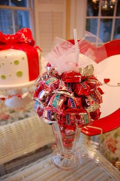 Great tutorial for making a Valentine's Day candy parfait.