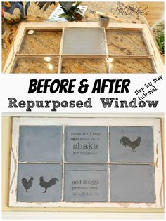 #Diy #repurposed window to #chalkboard. #rustic #chalkpaint #Stencil