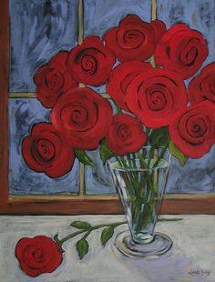 Red Roses Abstract Painting