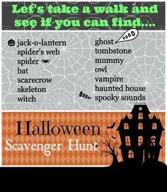 Kids Halloween Scavenger Hunt List