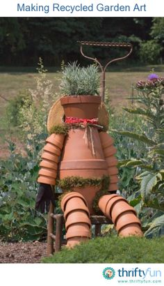 This guide is about making recycled garden art. There are many things that can be reused to create interesting art for the garden.
