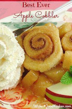 Best Ever Apple Cobbler {gluten free option}  © WickedGoodKitchen.com #apple #glutenfree #dessert #recipe