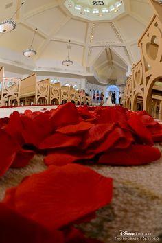 Rose petals line the aisle at Disney's Wedding Pavilion #red #rose #petals #WeddingPavilion #Disney