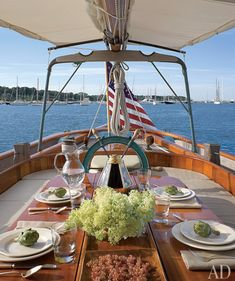 Dining on a boat with a gorgeous view