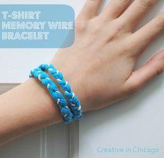 old shirts, memori wire, shirt bracelet, memory wire bracelets, old t shirts, kid