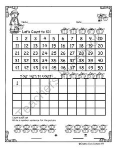Fall Counting Worksheets--Common Core Aligned for Kindergarten and First Grade from Creative Core Content on TeachersNotebook.com -  (23 pages)  - This product aligns with the following Common Core Standards:  .K.CC.A.1, K.CC.A.2, K.CC.A.3, K.CC.B.4, and 1.NBT.A.1