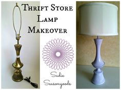 I see versions of this project more and more frequently- someone finds an outdated lamp at the thrift store (often brass) and they give it a makeover with some paint and a new shade. And then ta-da...