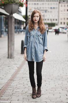 denim shirt + leggings + boots