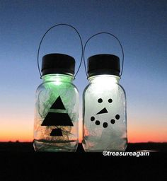 Solar Winter Mason Jar Solar Lights™ http://etsy.me/IKZqBl..Outdoor Snowman & Tree with the ORIGINAL MASON JAR SOLAR LIGHT LID™: http://etsy.me/URW02i  by treasureagain
