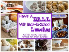 A Collection of Healthy Nut Free Protein Packed Snack Balls perfect for Your Kids Lunchbox from thebalancedplatter