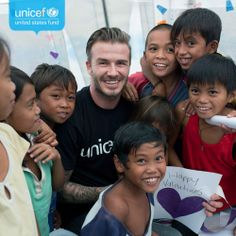 David Beckham meeting kids affected by Typhoon #Haiyan in the Philippines. Thanks to our supporters for your help! #DavidBeckham
