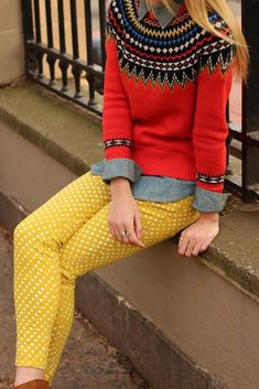 Love the colors. Love the mix of Icelandic yoke sweater with polka dot pants.