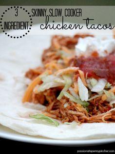 {3 Ingredient} Skinny Slow Cooker Chicken Tacos ~ taste like Moe's Southwest Grill with just 3 simple ingredients!