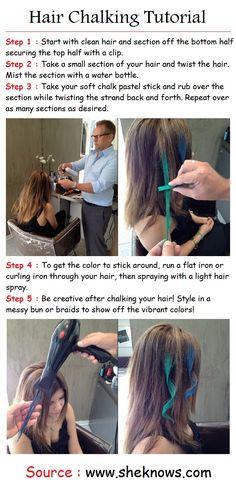 chalk tutori, fashion, girl, dark hair, hairstyl, beauti, fun, hair chalk, diy