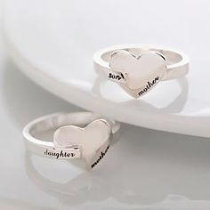 mother & child heart ring