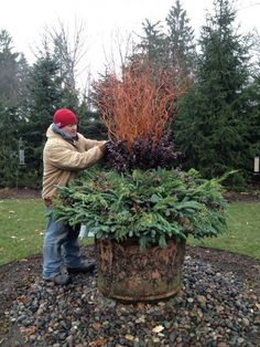 Turn your fountain into a winter container!