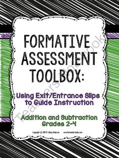 Formative Assessment Toolbox:  Addition and Subtraction Grades 2-4 from Fourth Grade Studio on TeachersNotebook.com -  (72 pages)  - This resource gives you everything you need to assess and plan for instruction for addition and subtraction concepts for grades 2-4!
