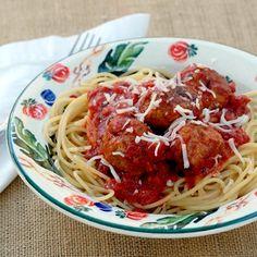 Turkey Meatballs with Tomato Sauce turkey recip, turkey meatballs, pasta recipes, sauces, tomato sauce, food, meatball recipes, pastas, disney familycom