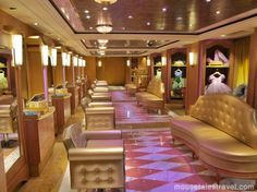 The Disney Fantasy hosts the first Bibbidi Bobbidi Boutique at sea and it's stunning! It transforms into The Pirates League on Pirate Night, right down to the lights in the ceiling. Amazing! MouseTalesTravel.com Disney Fantasy Magical Preview Cruise