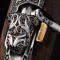 Odin's Rifle // Ok, it's not sharp or pointy, but it is really cool. Wonderful high relief engraving.