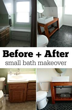 Before + After Small Bath Makeover.  Learn how!