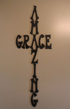 Amazing Grace Cross for Wall Decor... Must do next year, maybe put on a board permanently! tattoo ideas, christmas gift ideas, wall decor, craft stores, diy wall art, a tattoo, amaz grace, cross tattoos, grace cross