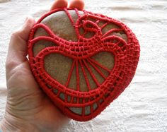 Red Heart Organic Stone Sculpture Coiled