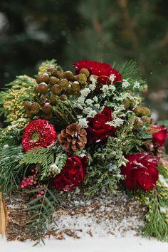 winter floral arrangement // photo by Callie Hobbs Photography // http://ruffledblog.com/christmas-woodland-inspiration