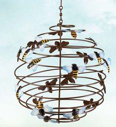 beehiv wind, wind sculptur, bee sphere, hang beehiv