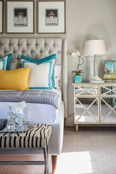 mirrowed bedside tables