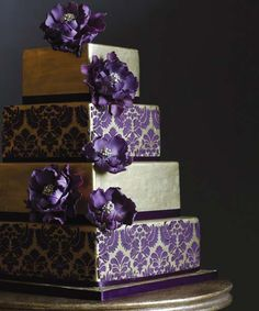 unusual stunning wedding cakes | Purple Color of Unusual Square Wedding Cake Shape - Getting Beautiful ...