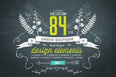 Hand drawn clip art. 84 elements! by GrafikBoutique on Creative Market