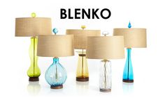 Blenko mid-century style handblown glass table lamps, exclusively at Rejuvenation