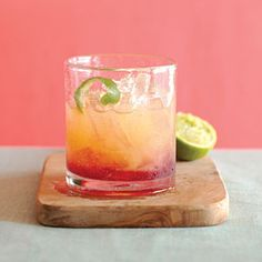 Sunset Margerita 1/3 cup each tequila and triple sec 3 tablespoons orange juice  2 tablespoons lime juice  4 tablespoons pomegranate juice  2 twists fresh lime peel  1 cup ice cubes in a pitcher. Pour in tequila, triple sec, orange juice, and lime juice. Stir well and divide between two cocktail glasses. Using the back of a large spoon, carefully pour 2 tbsp. pomegranate juice down the inner side of each glass. Garnish each with fresh lime peel, crushed slightly just before adding. Mmm
