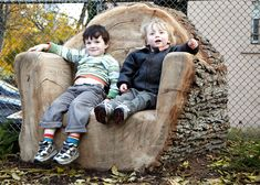 If you happen to be taking down a big tree....what a cool outdoor furniture idea
