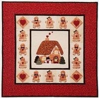 """Gingerbread Christmas Applique Pattern by Brandywine Designs at KayeWood.com. No traditional Christmas would be complete without a gingerbread house and gingerbread boys and girls. Easy appliqué instructions and full-size patterns make this delightful wall-hanging a treat to make. Includes instructions for two pillows. approx. size: 27"""" x 27""""  http://www.kayewood.com/item/Gingerbread_Christmas_Pattern/3579 $6.00"""