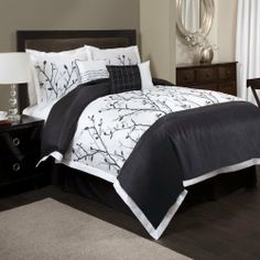 """Lush Decor 6-Piece Tree Branch Comforter Set, California King, Black/White by Lush Decor. $148.03. 6-Piece set includes: One comforter, one bedskirt, 2 pillow shams and two dec. pillows. Comforter: 104""""W x 92""""D. Bedskirt: 72""""W x 84""""D+14.5""""H. 250 GSM Comforter. Fabric Content:100-percent Polyester. Care Instruction: Comforter/bed skirt/shams: dry clean * Pillows: spot clean. Flowing branches and clean crisp black, silver and white colors make this design a must for any bedroom...."""