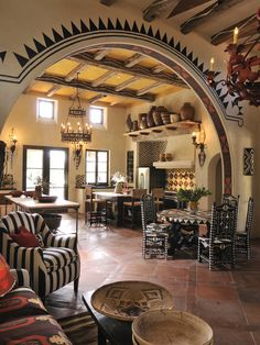 Perfect eclectic living and dining space decor, interior design, living rooms, dream, hacienda, interiors, arches, family rooms, families