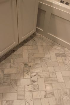 Master Bathroom Renovation - herringbone floor
