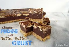 Chocolate Fudge with Nutter Butter Crust - Crazy for Crust
